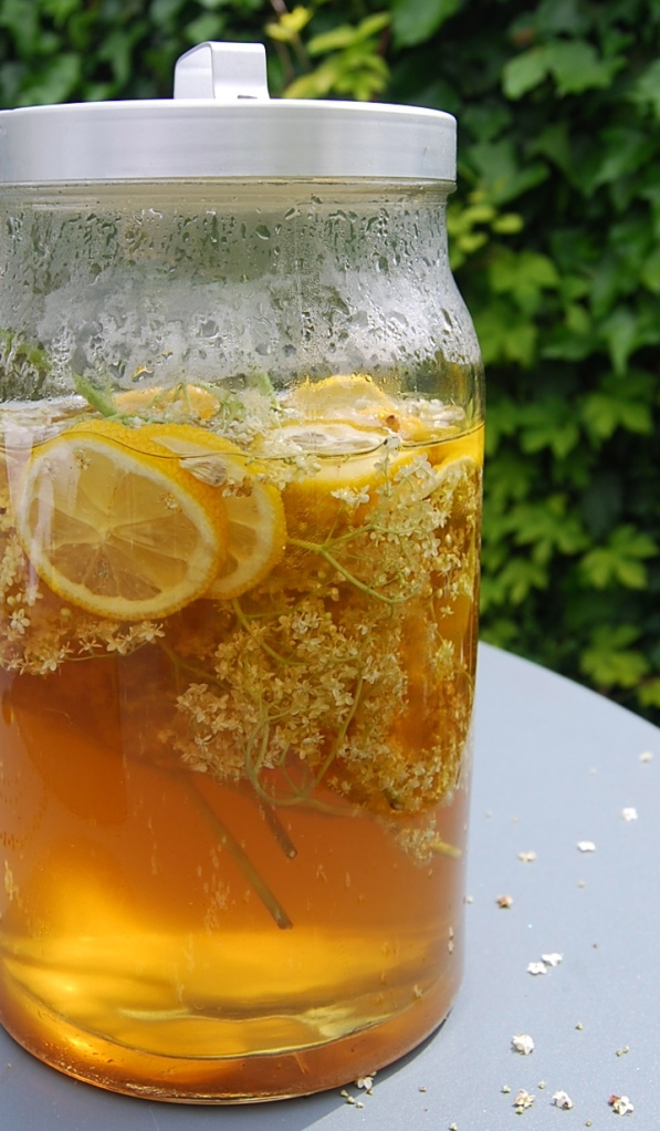 Elderflower cordial, slightly darker than you might have expected it as I used golden caster sugar
