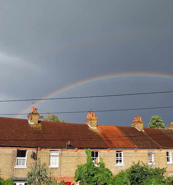 rainbow over the cottages