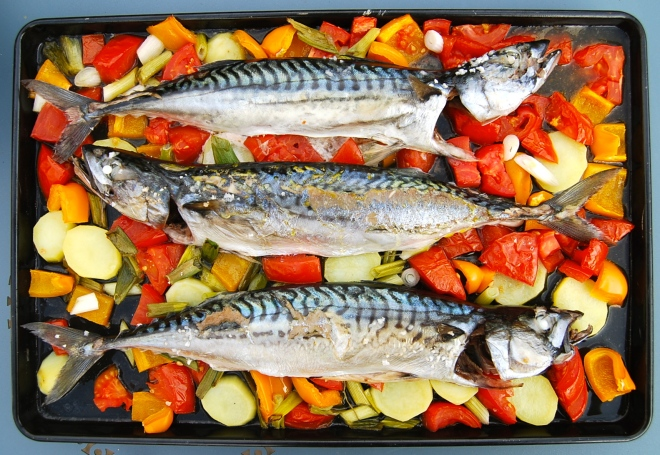 oven-baked mackerels cooked